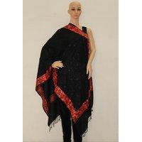 Matelco Black Woollen Shawl With Kashmiri Work Embroidery
