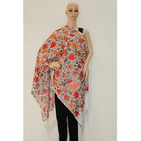 Matelco Cream Woollen Shawl With Full Embroidery Jaal