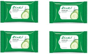 Zuci Natural Care Cucumber  Mint Refreshing Wipes ( 15 Pieces)-Pack of 4