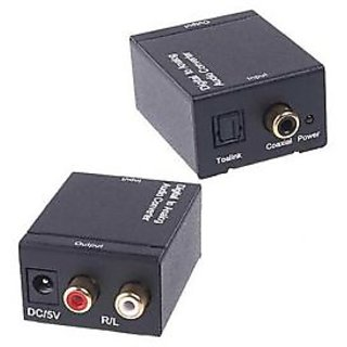 Digital Coaxial Toslink Optical to Analog R+L 2RC RCA Audio Converter