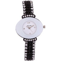 Timebre Staggering Women Black Diamond Party Watch