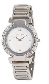 Timebre Round Dial Silver Metal Strap Women Watch