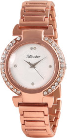 Timebre Round Dial Beige Metal Strap Womens Watch