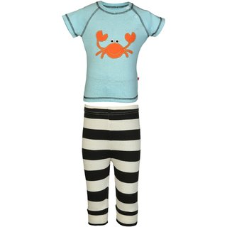Nino Bambino Organic Cotton Boys Top And Bottom Set With Crabbie Applique