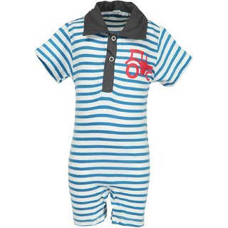Nino Bambino Organic Cotton Stripe Half Romper With Woven Collar And Tracktor Print