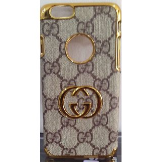 Hallov Back Case Cover Leather Golden And Grey Print Fancy Mobile Cover