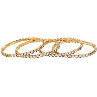 9blings CZ gold plated 4pc bangle set