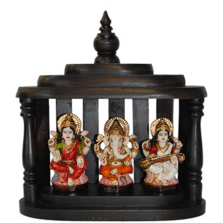Madg Religious Idols of Lakshmi Ganesh  Saraswati with wooden temple Showpiece