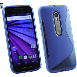 Emartbuy Motorola Moto G3 3rd Generation Ultra Slim Gel Skin Case Cover Blue