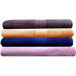 India Furnish 100 Cotton Soft Premium Bath Towels 450 GSM,Set of 4 Pcs ,Size 75 cm x 150 cm- Chocolate Brown,Peach,Navy Blue  Baby Pink  Color