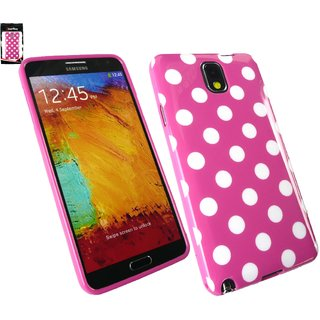Emartbuy Samsung Galaxy Note 3 Polka Dots Gel Skin Cover/Case Hot Pink / White
