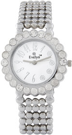 Evelyn White Round Dial Silver Metal Analog Watch For Women