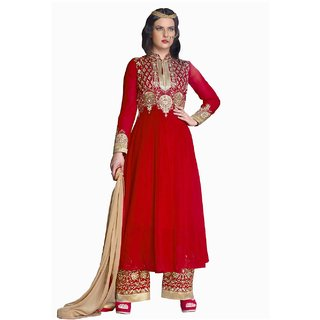Lookslady Heavy Embroidered Red Georgette Semi Stitched Salwar Suit
