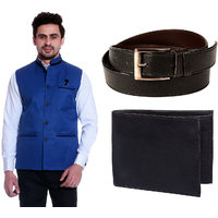 Calibro Royal Blue Valvet Nehru Jacket With Belt  Wallet