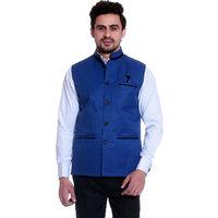 Calibro Royal-Blue Valvet Nehru Jacket