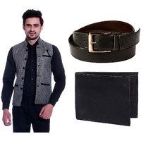 Calibro Grey Valvet Nehru Jacket With Belt  Wallet