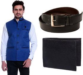 Calibro Royal Blue Valvet Nehru Jacket With Belt  Wallet