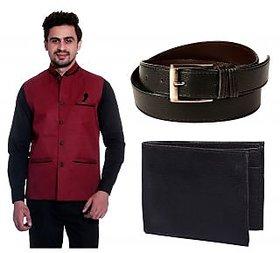 Calibro Mahroon Valvet Nehru Jacket With Belt  Wallet