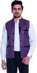 Calibro Purple Valvet Nehru Jacket