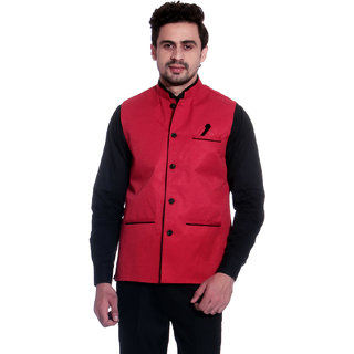 Calibro Red Valvet Nehru Jacket