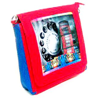 Maison clock and buliding  print sling bag