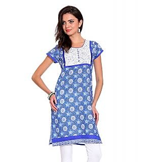 TSG BREEZE Womens Cottons Kurti-Blue  White Colour