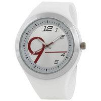 Evelyn Round Dial White Silicone Strap Quartz Watch For Men