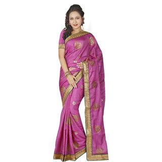 AVF Pink Linen Self Design Saree With Blouse