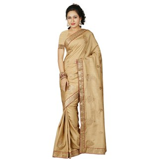 AVF Beige Linen Self Design Saree With Blouse