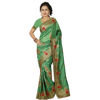 AVF Green Linen Self Design Saree With Blouse