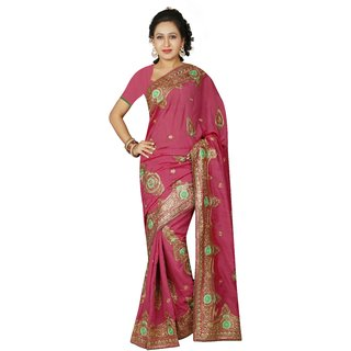 AVF Multicolor Linen Self Design Saree With Blouse