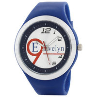 Evelyn Round Dial Blue Silicone Strap Quartz Watch For Men