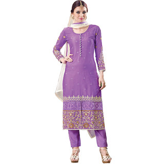 AVF Designer Embroidered and Unstitched Salwar Suit - Purple and Cream AVF-110-808