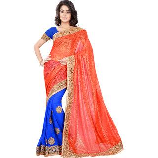 Aaina Orange & Blue Chiffon+Lycra Embroidered Saree