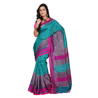 Aaina Light Blue Bhagalpuri silk Printed Saree