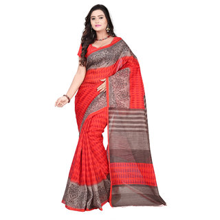Aaina Red Bhagalpuri silk Printed Saree