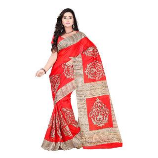 Aaina Red Bhagalpuri silk Printed Saree