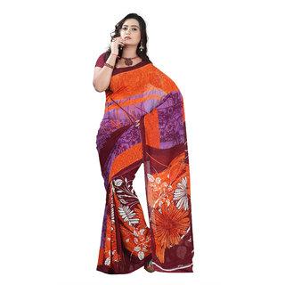 Aaina Orange & Purple Faux Georgette Printed Saree