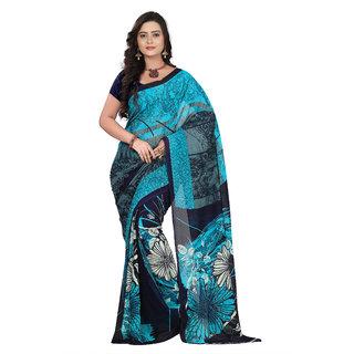 Aaina Blue & Black Faux Georgette Printed Saree