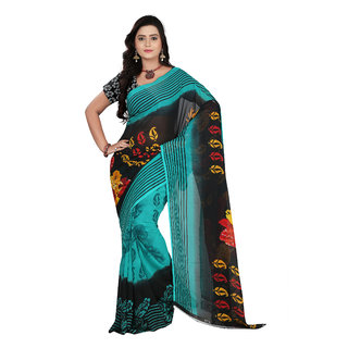 Aaina Green & Black Faux Georgette Printed Saree