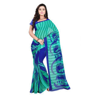 Aaina Blue & Green Faux Georgette Printed Saree