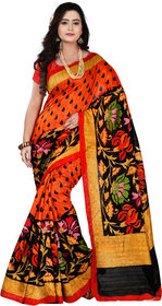 Aaina Orange & Black Bhagalpuri silk Printed Saree