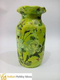 Green Decoupage Floral Flower Vase - IHI