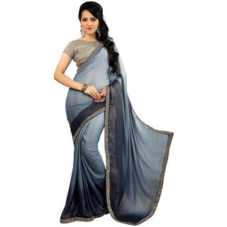 AVF Black Chanderi Embroidered Saree With Blouse