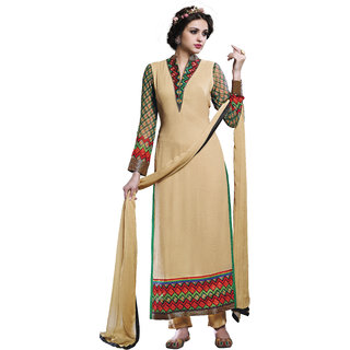 AVF Embroidered Unstitched Salwar Suit - Cream AVF-20-207