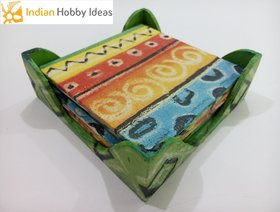 Wooden Decopage Square Tea Coaster Set - IHI
