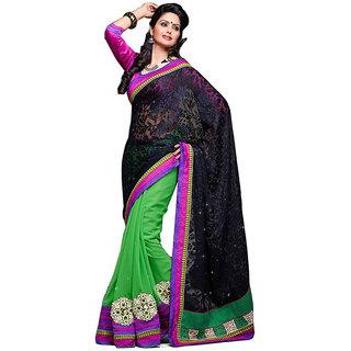 Loootlo Black & Green Embroidered Border work Designer sarees