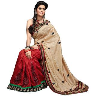 Loootlo Cream & Red Embroidered Black border work Designer sarees