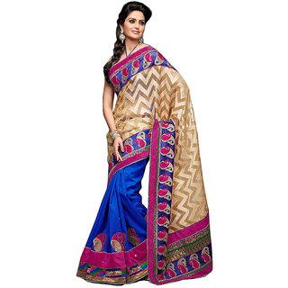 Loootlo Cream & Blue Embroidered zari work Designer sarees
