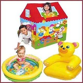 Tent House + Teddy Bear Chair + Water Pool for Kids